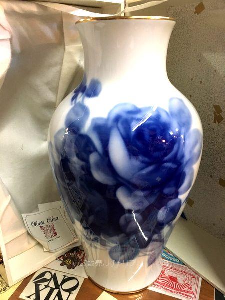 OKURA 大倉陶園 ブルーローズ 花器