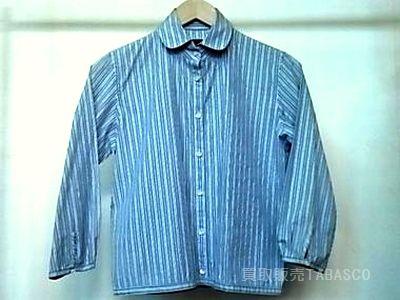 mina perhonen ミナ ペルホネン ストライプ 丸襟ボタンシャツ